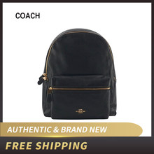 COACH Pebble Kulit Ukuran Penuh Charlie Ransel Hitam F29004(China)