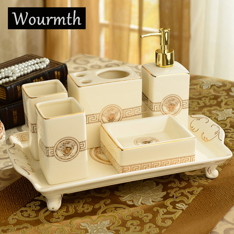 wourmth 6pc plastic elegant soap dish dispenser shampoo bottle toothbrush holders box storage organizer bathroom accessories