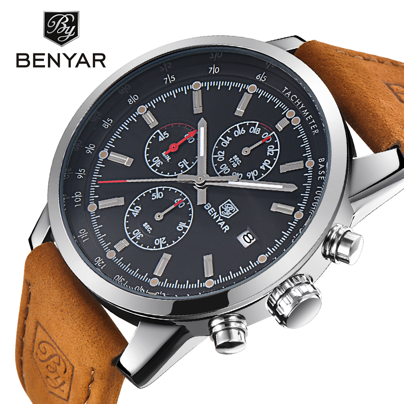 BENYAR Brand Chronograph Men Watch Luxury Sport Waterproof Mens Quartz Military Wrist Watches Male Leather Clock saat with Box yuzhe leather car seat cover for mitsubishi lancer outlander pajero eclipse zinger verada asx i200 car accessories styling