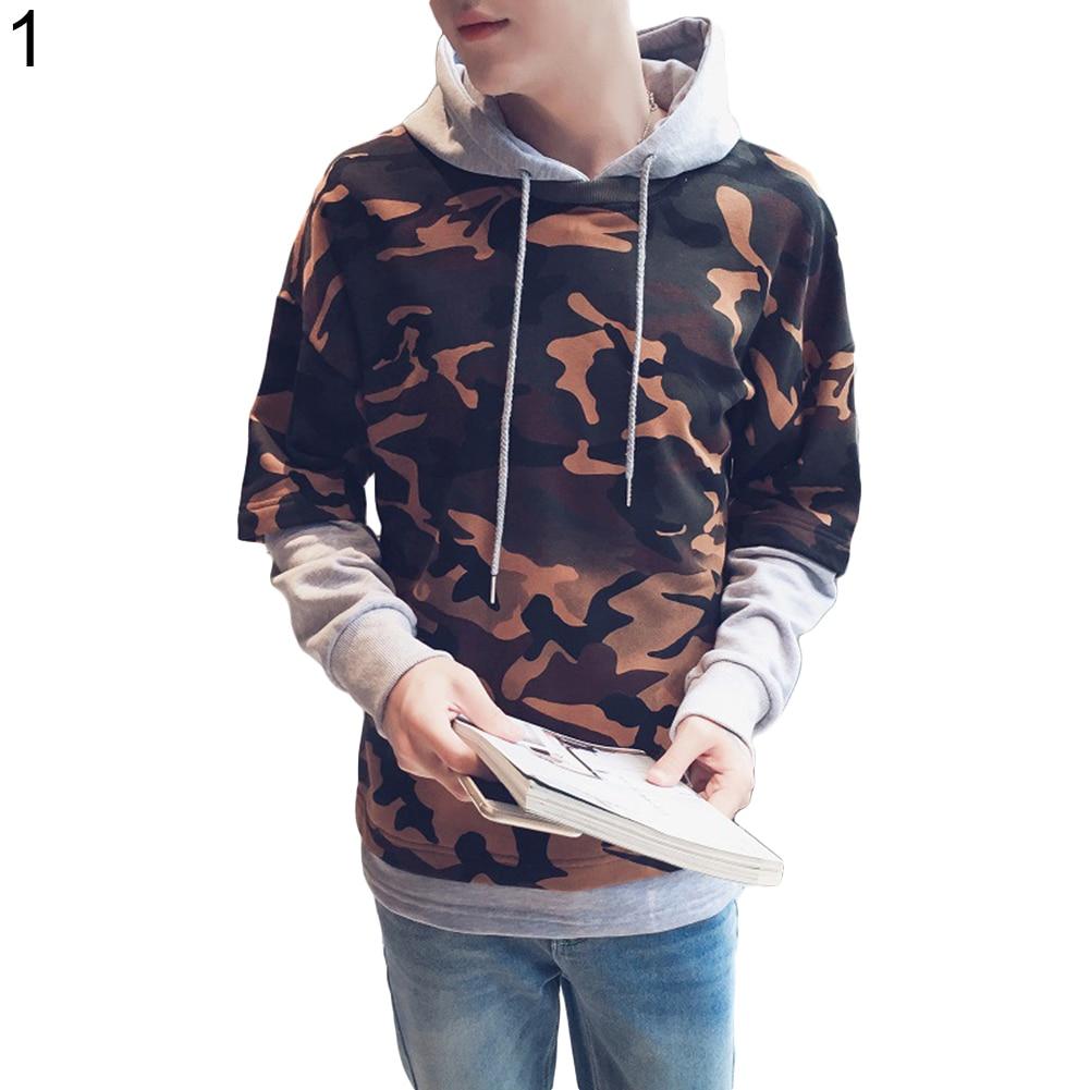 fake two pieces camouflage hoodies women men fashion