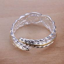 Wholesale 925 jewelry silver plated ring, 925 jewelry silver plated fashion jewelry, Separations Feather Ring SMTR020(China)