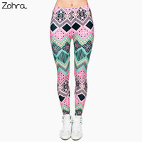 Zohra New Fashion Brand Aztec Pink 3D Full Print Leggings Punk Women S Fitness Legging Stretchy