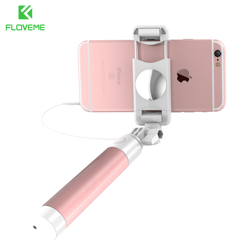 FLOVEME Universal Mini Selfie Stick 360 Rotatable Foldable Portable Extendable Wired Self Stick For iPhone Samsung Huawei Xiaomi kitred5l350unv35668 value kit rediform sales book red5l350 and universal standard self stick notes unv35668