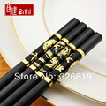 Free shipping chopsticks 1 pair with rest metal Crthl H010 black stick quality gold or silver japanese style alloy chopsticks