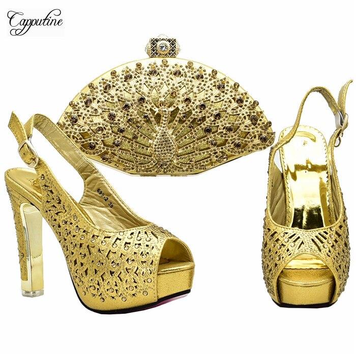 Moda Increíble Púrpura De azul Oro Con Zapatos Bolso Sandalia fuchsia Y Xy12 Set púrpura Bombas Alto Real Tacón Bolsa rrzAFn