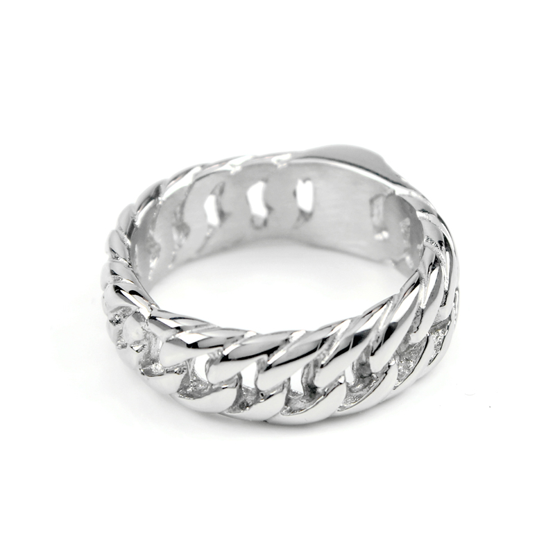 Cadena de la motocicleta de las mujeres de los hombres anillo de plata de acero inoxidable Punk Biker hombres encanto boda banda de bicicleta anillos de joyería VR109