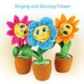 Freeshipping 2016 de pelúcia brinquedos criativos cantando e dançando girassol macio pelúcia engraçado brinquedos presente para crianças crianças de aniversário
