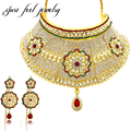 2017 India Bollywood Jewelry Sets Real Gold Plated Sunflower Necklace Choker 2PCS Bridal Wedding Jewellery for Women Accessories