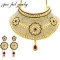2017 india bollywood conjuntos de jóias real banhado a ouro girassol colar choker 2 pcs nupcial do casamento acessórios de jóias para as mulheres