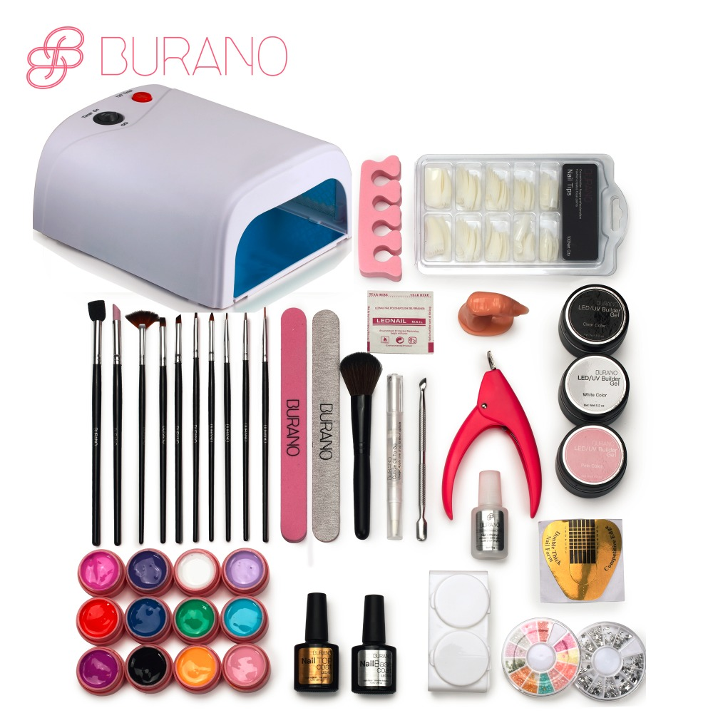 BURANO UV/LED GEL Lamp & 12 Color UV Gel Practice Fingers Cutter Nail Art DIY Tool Kits Sets manicure set 001