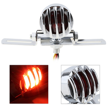 Universal Motorcycle Motorbike Taillight Retro Refit Metal Stoplight Black Color with Grill Cover for Harley
