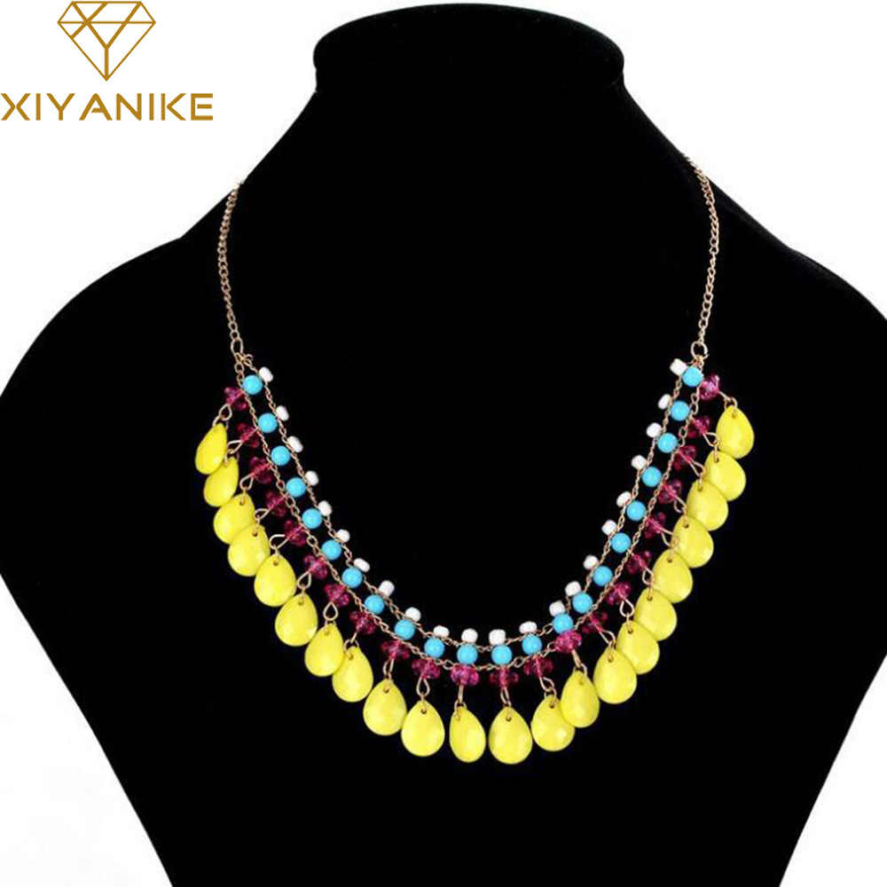 Newest !!! Hot Summer Bohemian Beads Small Fresh Water Droplets Fluorescent Color Necklace Statement Necklace N706
