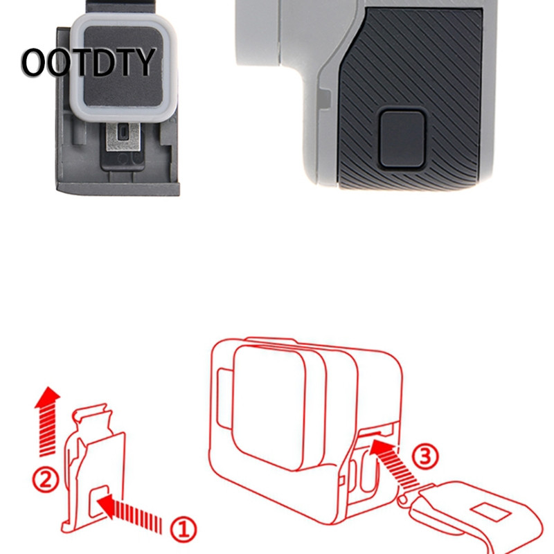 OOTDTY Camera Accessory Front/Side Door USB-C Micro-HDMI Port Cover Protector for GoPro  ...