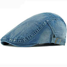 HT2411 Spring Summer Men Women Cap Sun Hat Denim Newsboy Ivy Flat Adjustable Berets Artist Painter Beret