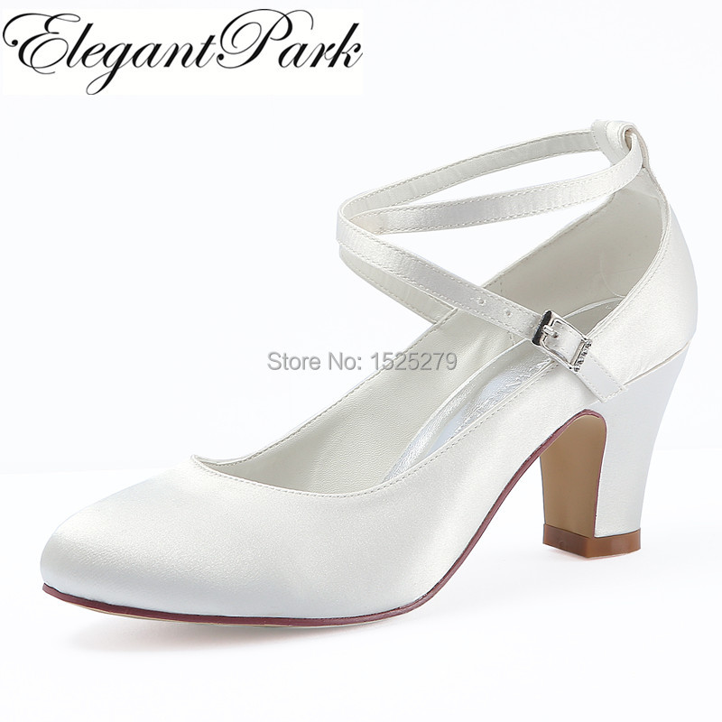 HC1808 White Ivory Wedding Bridal Shoes Closed Toe high Heel Cross ankle strap Satin Women lady bride Prom dress pumps Navy blu