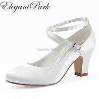 HC1808 White Ivory Wedding Bridal Shoes Closed Toe high Heel Cross ankle strap Satin Women lady bride Prom dress pumps Navy blu