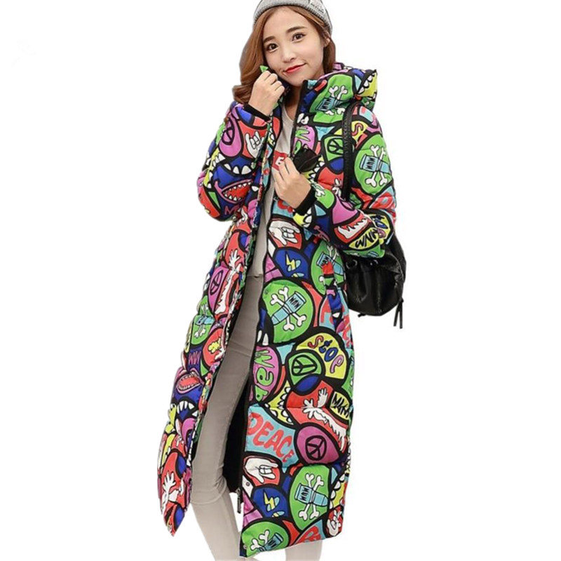 Winter Fashion Women Over Knee Coat Warm Monster Printing Plus Size 3XL Thick -20 Degrees Wear   Parkas   Mujer Long Jacket MZ3221