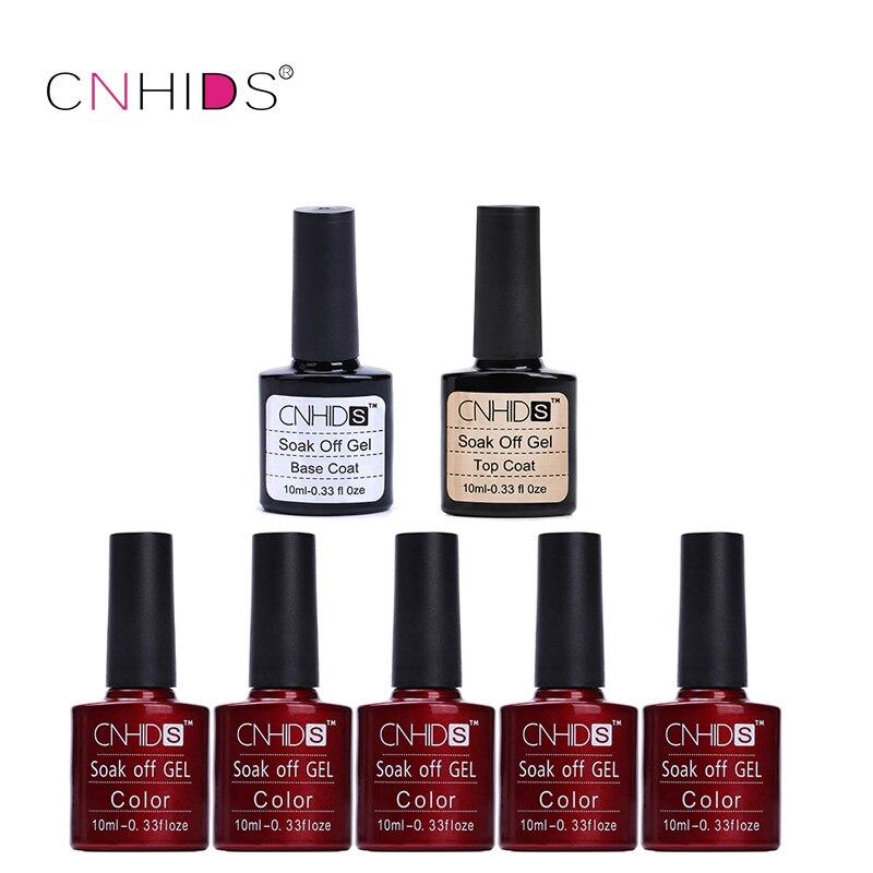 Cnhids 5 Unid Esmaltes de capa superior + Bases Uñas de gel polaco UV & LED brillante colorido 132 colors10ml larga duración empapa de barniz manicura barato