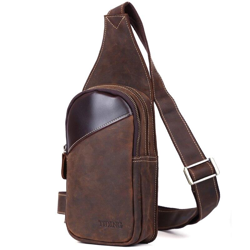 TIDING Sling backpacks for men small single strap shoulder bag cowhide genuine leather chest bag 3048