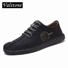 Valstone 2018 Genuine Leather Casual Shoes Men handmade vintage shoes lace-up Hot Sale Moccasins chaussure homme large size 46(China)