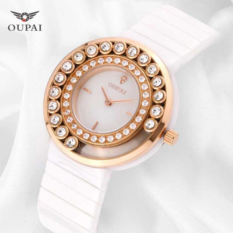 OUPAI Fashion Quartz Watches Women Diamonds Ceramic Wrist Watch Silicone Watchband Luxury Brand Ladies Dress Clock Female New цена