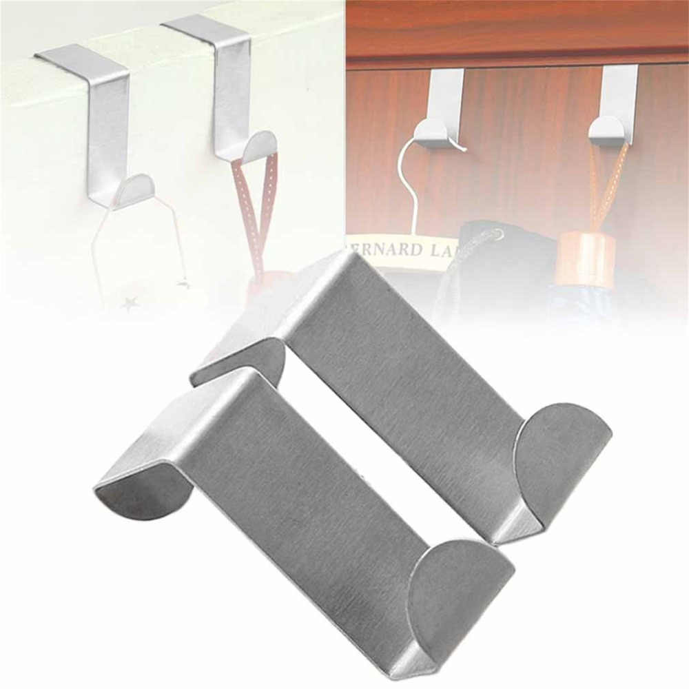 2Pcs สแตนเลสสตีลตะขอแขวนตู้ครัวประตูกลับประเภท Strong Practical Home อุปกรณ์เสริม