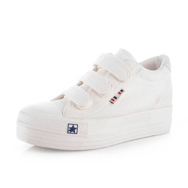 Плоская Платформа Холст Обувь Женская Повседневная Обувь Весна Осень Мода Крюк Петли Женщин Вулканизации Обуви B2706