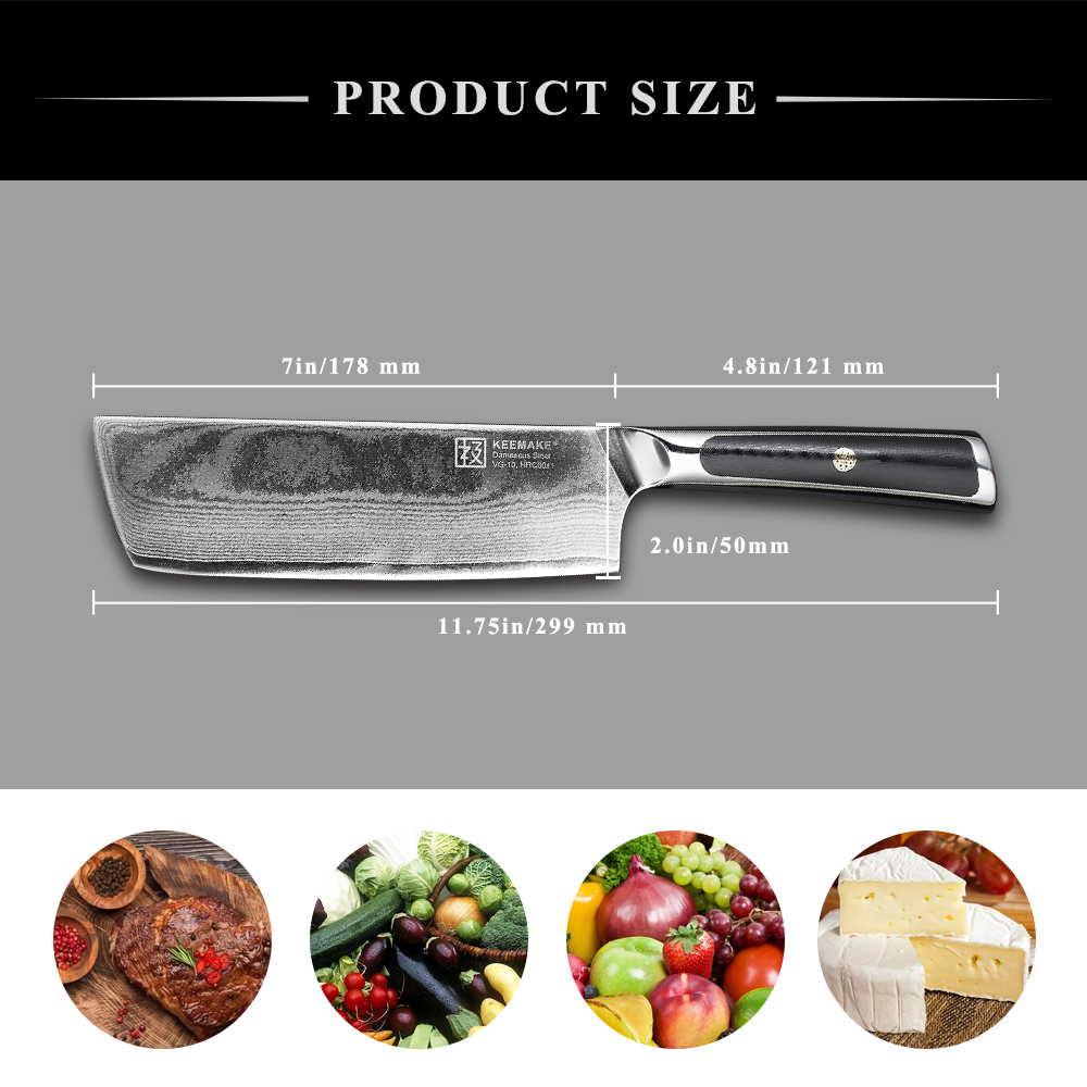 KEEMAKE 7 quot Cleaver Knife Chef Kitchen Knives Japanese Damascus VG10 Steel 73 Layers Sharp Blade Strong Hardness G10 Handle in Kitchen Knives from Home amp Garden