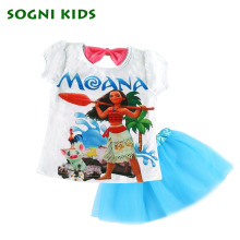 Moana 2-7Y Summer Suit for baby Girl Children Kids Princess Set Cute Short Dress Sequined Crown Cotton Party Dresses for kids