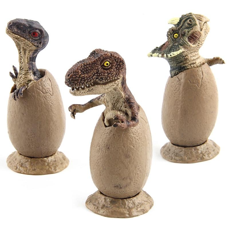 3 pçs/set Mundo Jurássico Dinossauro Modelo Set Figuras de Ação Brinquedos Para Crianças Semi-para incubação Ovos de Dinossauro Crianças Aprendendo Brinquedos # E