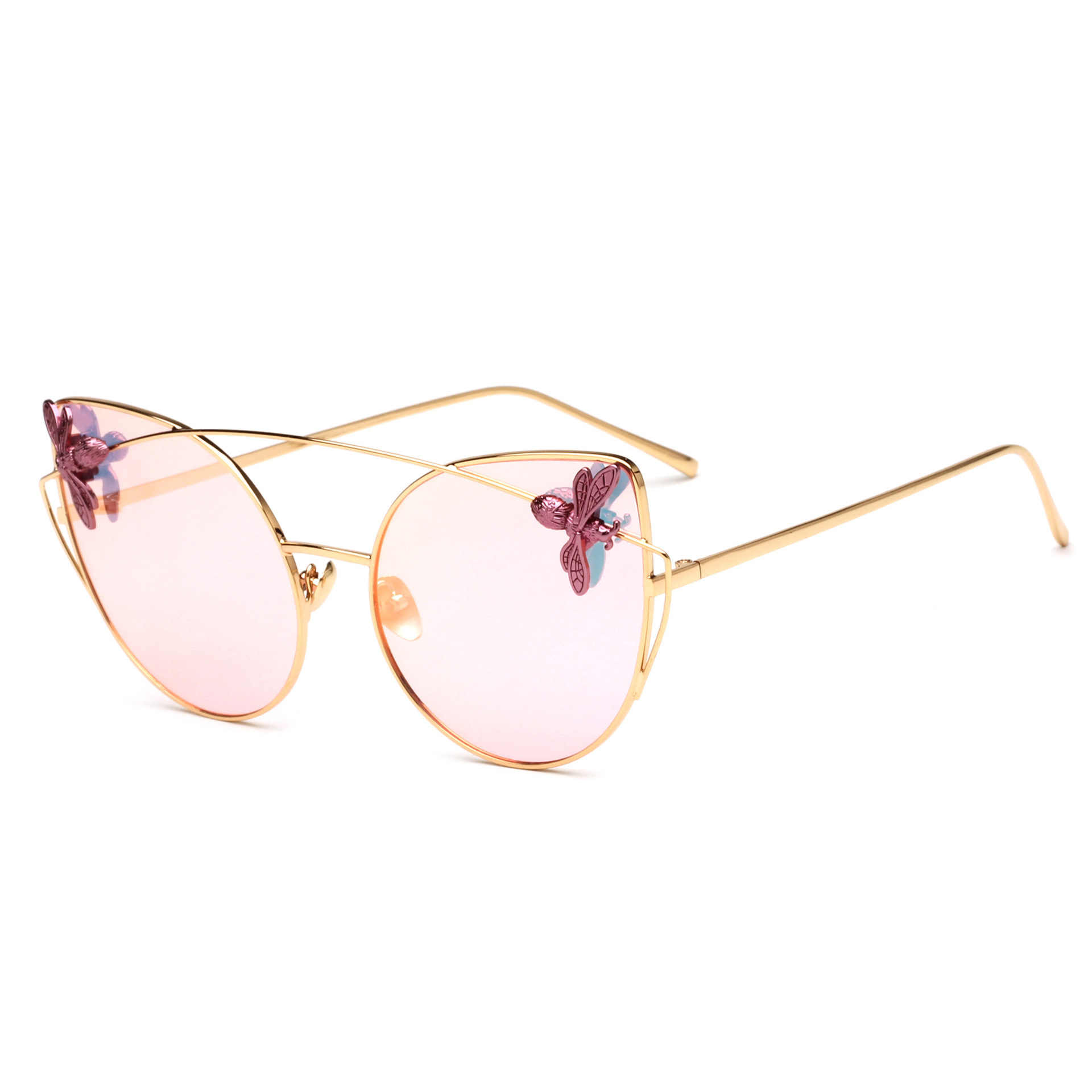Carving Bees Sunglasses Women Cat Eye Hollow Metal Frame Sun Glasses Vintage Gothic Glasses Oculos Feminino Lentes Gafas De Sol