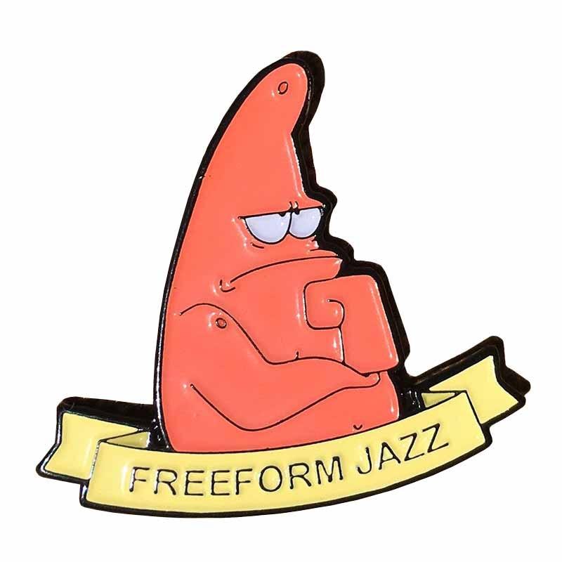 freeform jazz spongebob  US $9.9 96% OFF|Spongebob Pin Freeform Jazz Patrick Badge Enamel Pin-in  Pins & Badges from Home & Garden on AliExpress