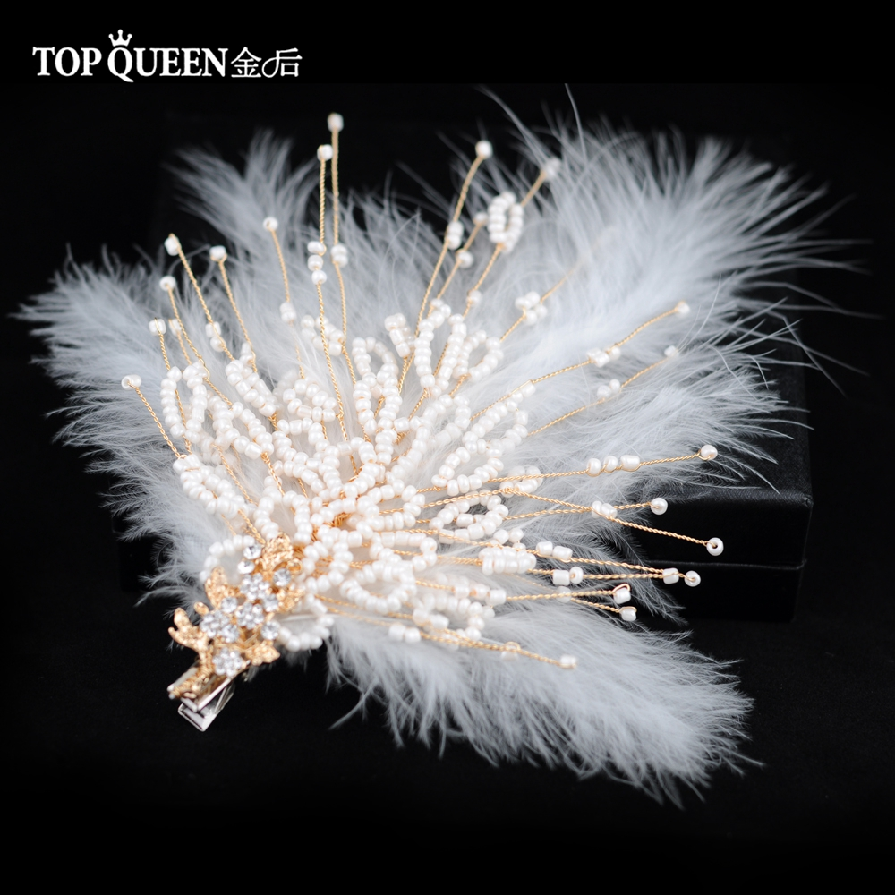 TOPQUEEN HP195 Bridal Tiara Wedding Tiara And Crown Bride Hair Jewelry Handmade Feather Wedding Hair Accessories