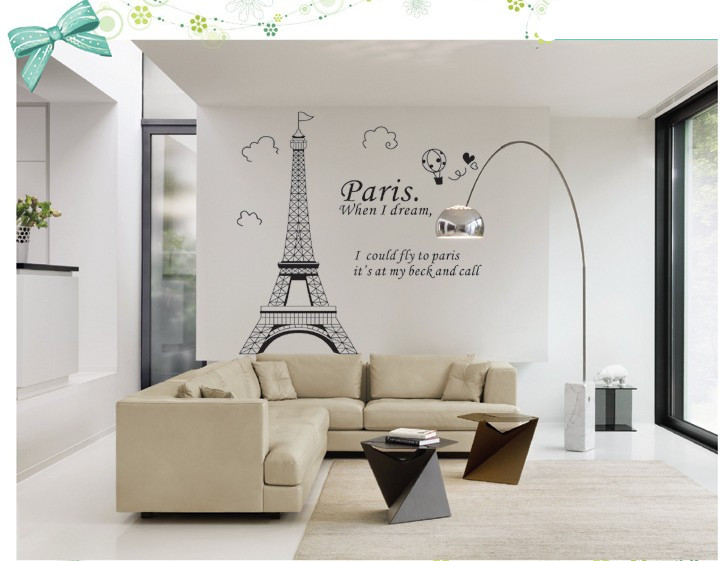 Paris Eiffel Tower Bathroom Home Decor Wall Decals Family Bedroom Decoration Adhesive Poster