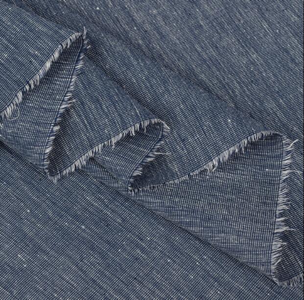 Wholesal Retro Fashionable Denim Color Linen Fabric Dressesprint Satin FabrictextilesChinese Cheap Fabrics Tweed Stripe B800 In From Home Garden