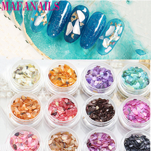 цена на 1set/lot Random 12 Color Crushed Shell Fragment Stone Powder For False Acrylic UV Gel Tip 3D Nail Art Stone Decoration Set