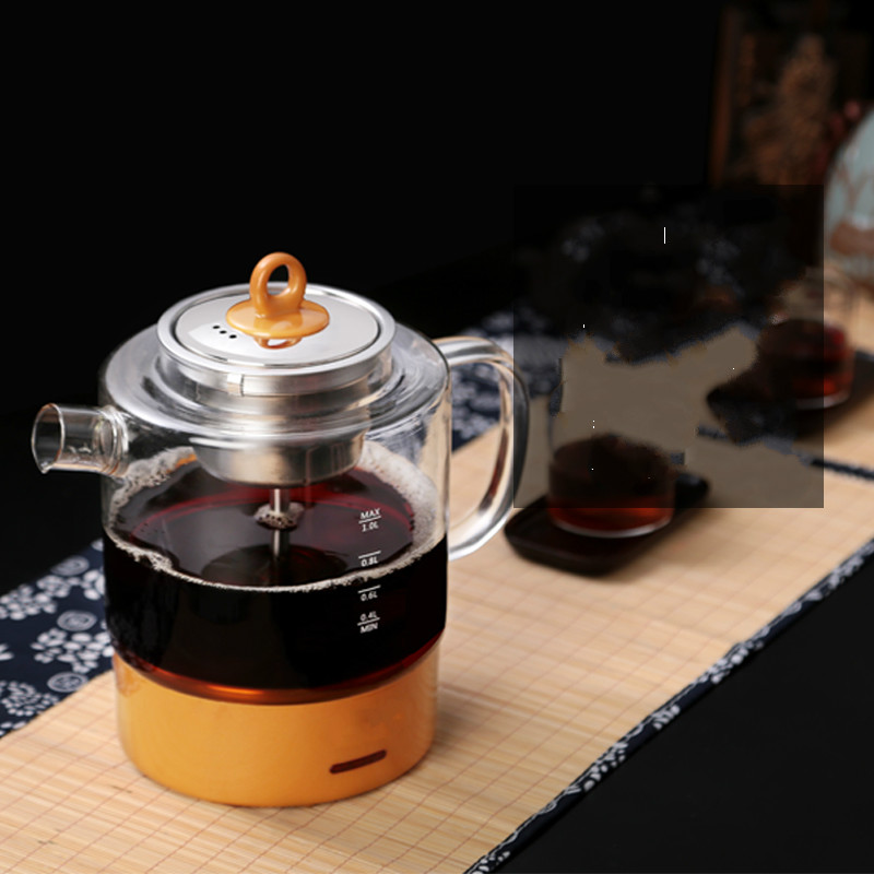 Electric kettletea maker black tea glass electric kettle full automatic steam hot brew teapot Overheat Protection electric kettle brew tea ware black pu er glass electric thermal insulation steam overheat protection