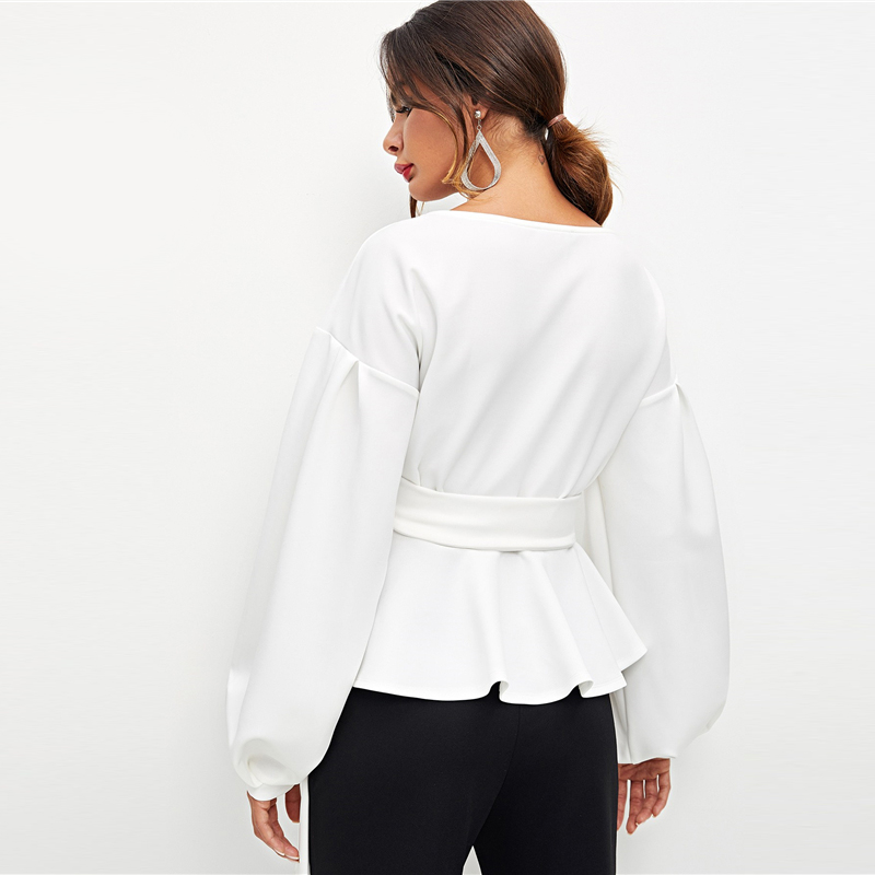 SHEIN White Office Lady Elegant Lantern Sleeve Surplice Peplum Off the Shoulder Solid Blouse Autumn Sexy Women Tops And Blouses 14