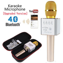 Cantando Máquina De Karaoke KTV Microfone Sem Fio Bluetooth Speaker Player Mic Q9