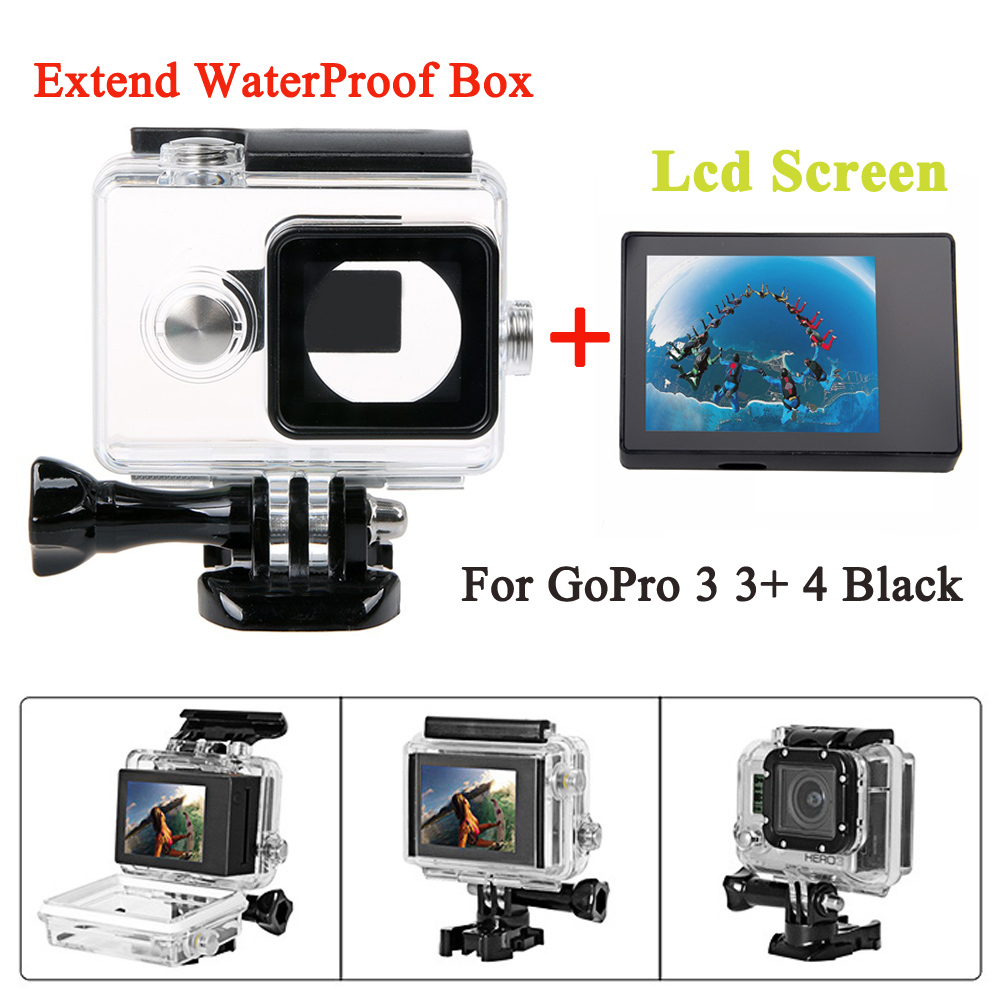 gopro hero 4 3 3 bacpac lcd screen 45m waterproof housing case extended backdoor for. Black Bedroom Furniture Sets. Home Design Ideas