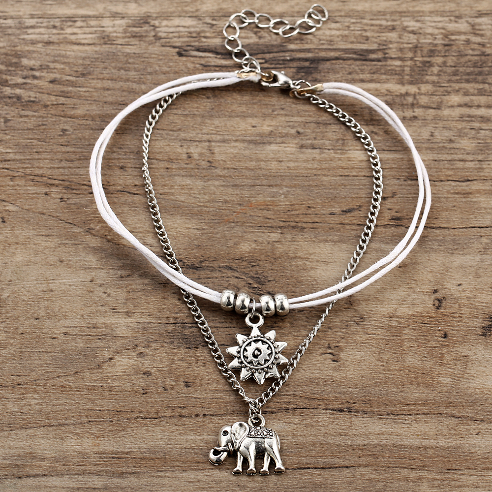 IF ME Vintage Multiple Layers Anklets for Women Elephant Sun Pendant Charms Rope Chain Beach Summer Foot Ankle Bracelet Jewelry 3