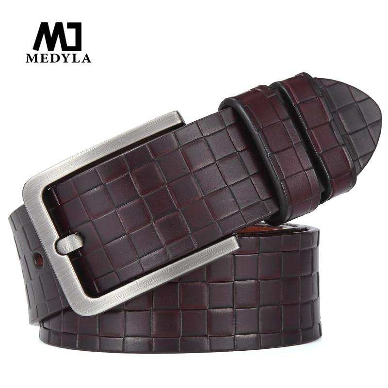 MEDYLA men high quality genuine leather belt luxury designer belts men cowskin fashion Strap male Jeans for man cowboy belt