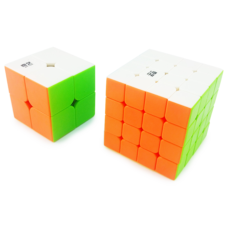 2pcs Smoothly Rainbow Professional Speed Magic Cube Puzzle Twist Classic Toy Game Qiyi 2x2 4x4 Brand New & Free Shipping Aromatic Flavor
