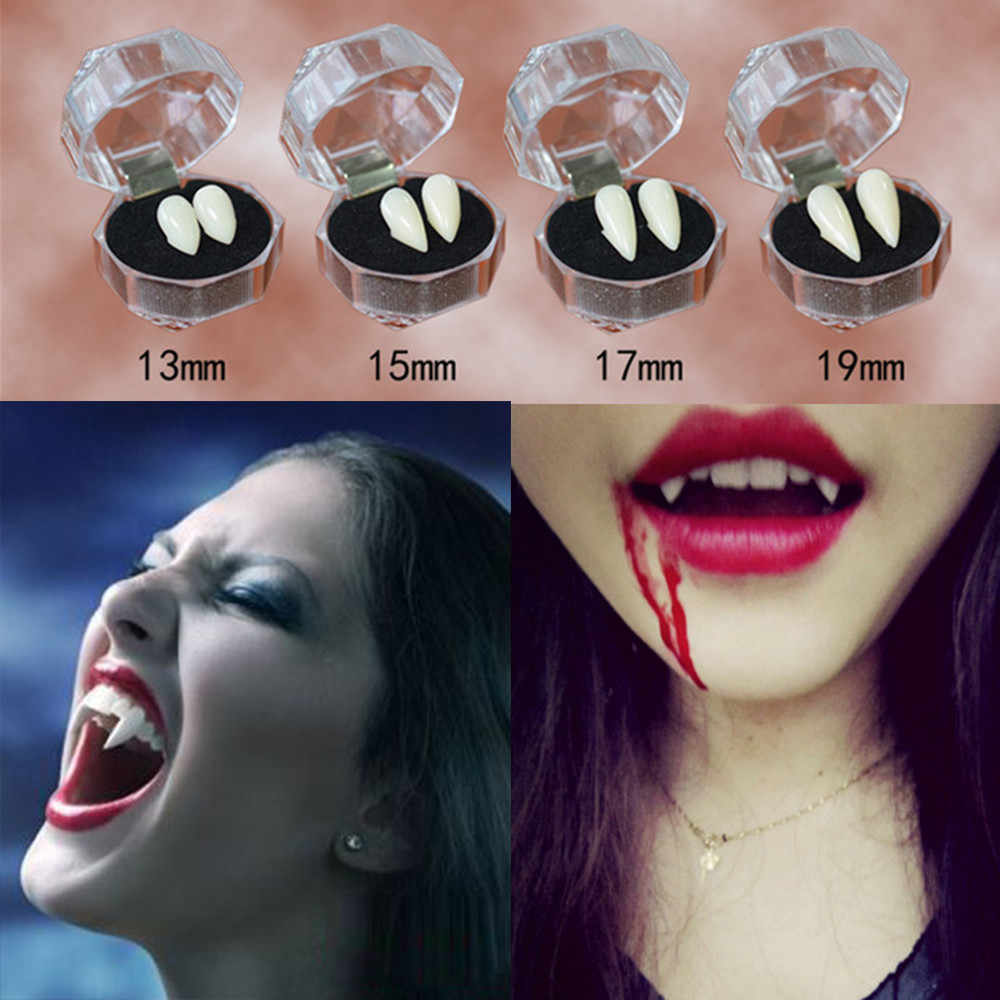 4 size Horrific Fun Clown Vampire Teeth Halloween Party Dentures Props Zombie Devil Fangs Tooth  for kids and adult