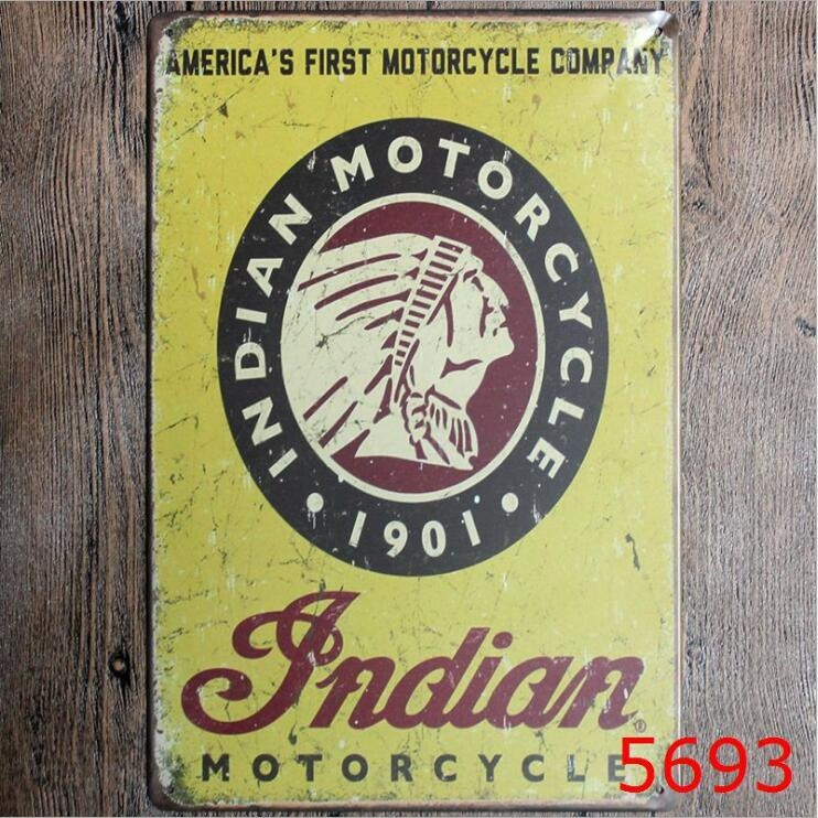 20x30CM Indian Motorcycles Metal Tin Sign Advertising Wall Art Home ...