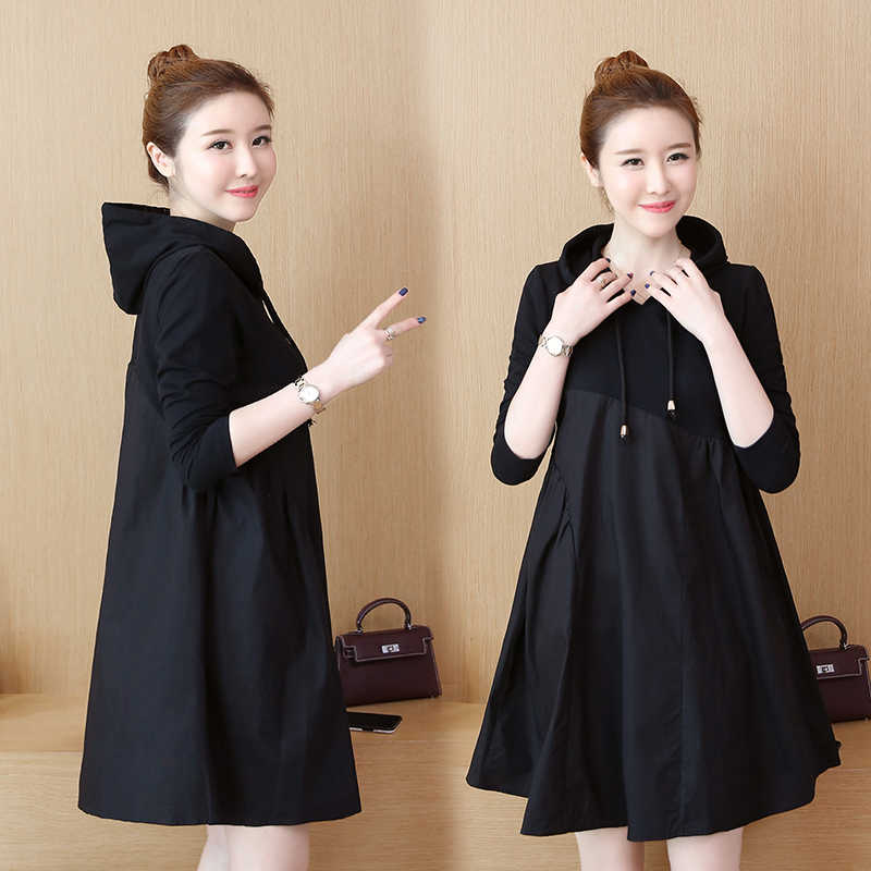 נשים הסווטשרט מזדמן סוודר שמלת גבירותיי ארוך שרוול מכפלת קצר שמלת גודל גדול מוצק מיני שמלה ארוך חולצות שחור YF379