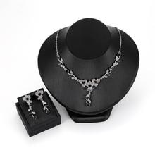 цены Women's Artificial Crystal Pendant Necklace Wedding Earrings Jewelry Set National style flower vine alloy Jewelry 2Pcs