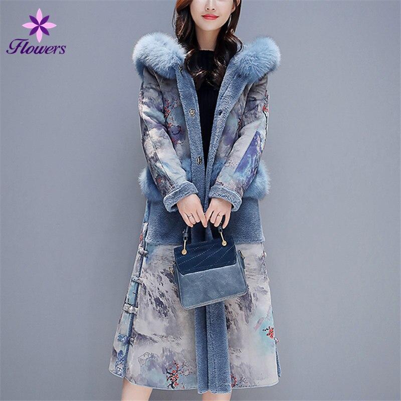 Autumn Winter Faux   Leather   Coat Women Clothes Plus Size Print Plus Velvet Thicken Big fur collar Hooded Deerskin   Suede   Long Coat