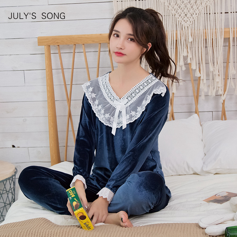JULY'S SONG Gold Velvet Autumn Winter Warm Pajamas Set Women Pajamas Sleepwear Long Sleeves Leisure Homewear 2 Peice Nightwear