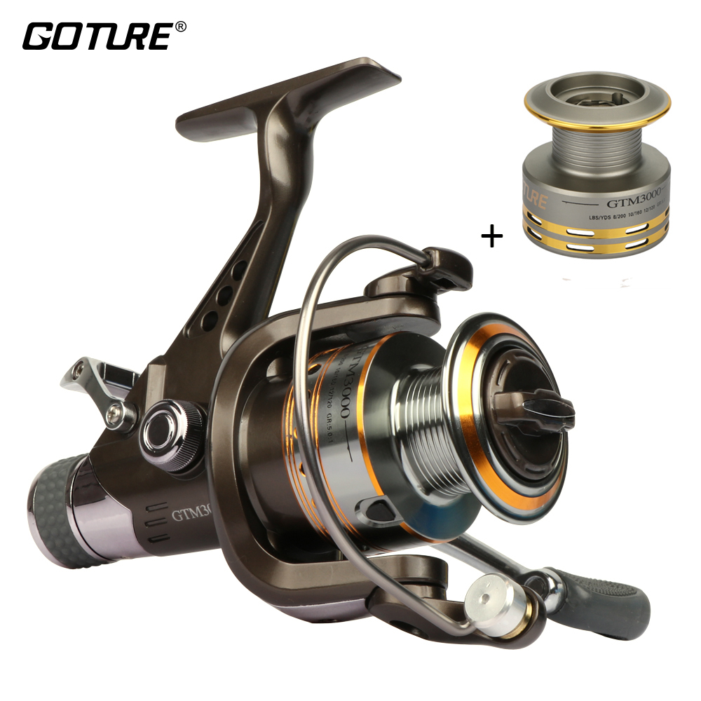 Goture GTM3000 Spinning Fishing Reel 7 + 1BB Max Drag 12.5kg Karpervissen Feeder Reel Met Dual Brake + Aluminium Spare Spool